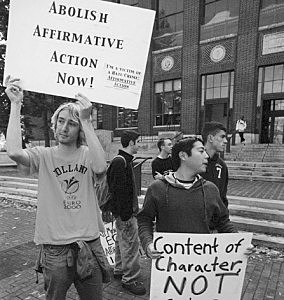College Students in Protest Against Affirmative Action (brotherpeacemaker.wordpress.com)