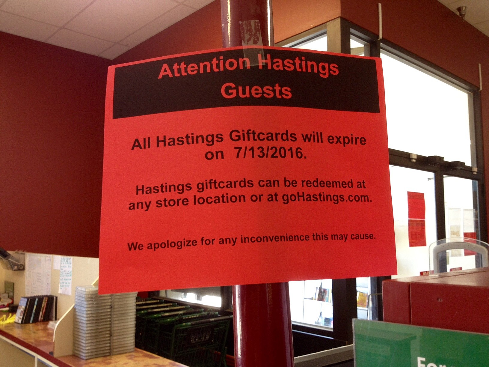 Hastings Announces Gift Card Expiration Date, Suspends Buyback Program