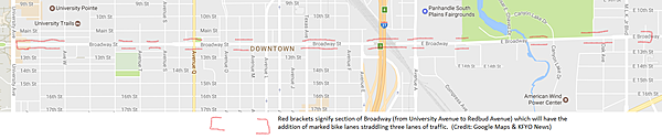 Illustration showing where marked bike lanes will be added on Broadway in Downtown Lubbock.  April 28, 2017