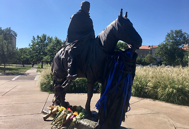 will rogers statue in black tape