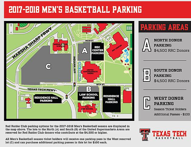 Texas Tech Men's Basketball Donor Parking- 2017-18 Season