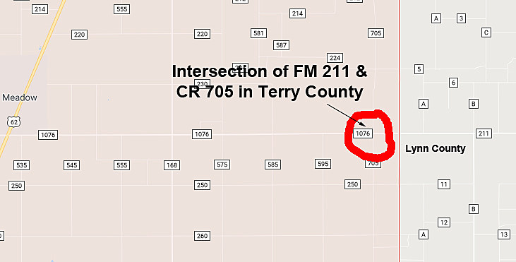 Map of Lubbock County Sheriff's Pursuit into Terry County- 040518